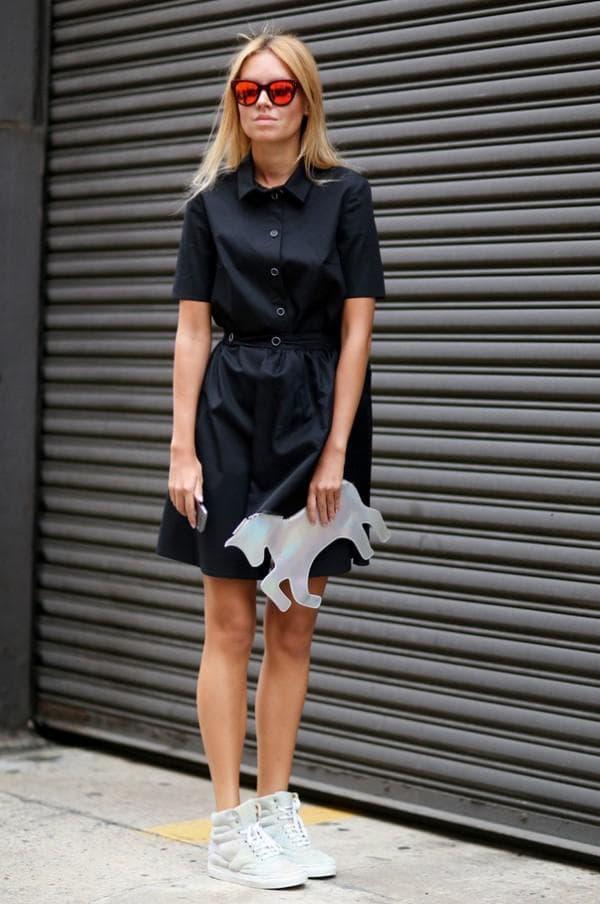 Образ с чёрным платьем рубашкой