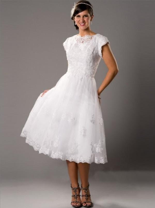 Свадебное платье миди скромное