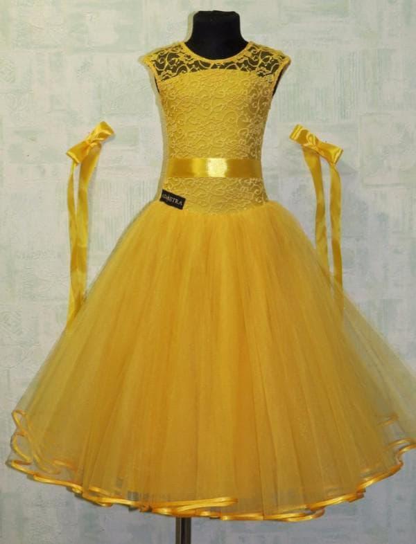 Желтое рейтинговое платье для девочек на танцы