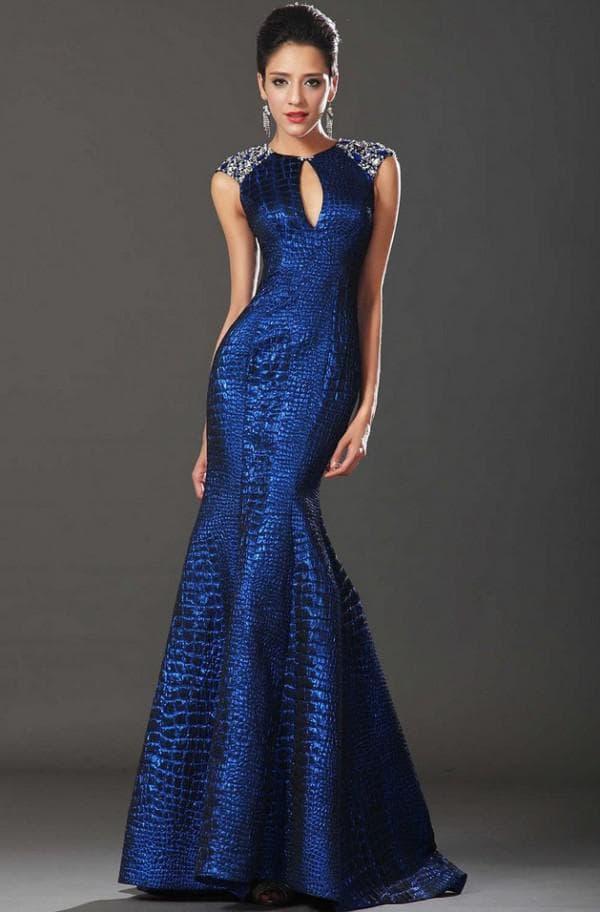 Синее вечернее платье рыбка в пол