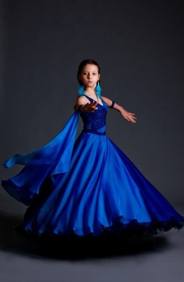 Синее платье для спортивно бальных танцев