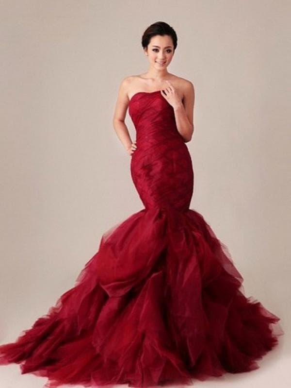 Бордовое свадебное платье рыбка