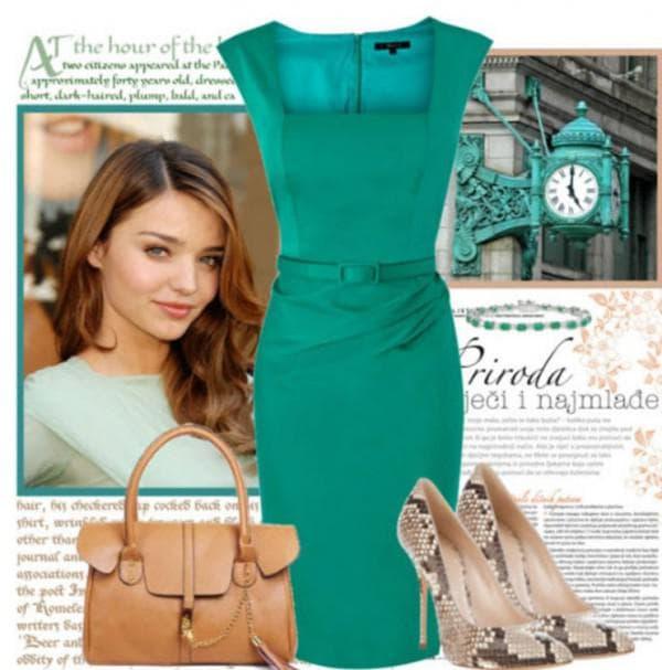 С чем сочетается зеленое платье футляр