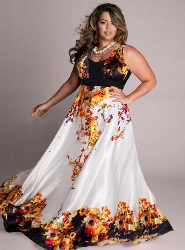 Атласное вечернее платье для полных