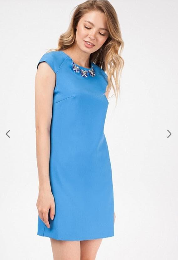 Голубое платье мини