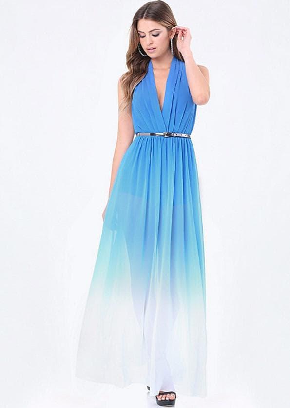 Голубое платье в пол на выпускной