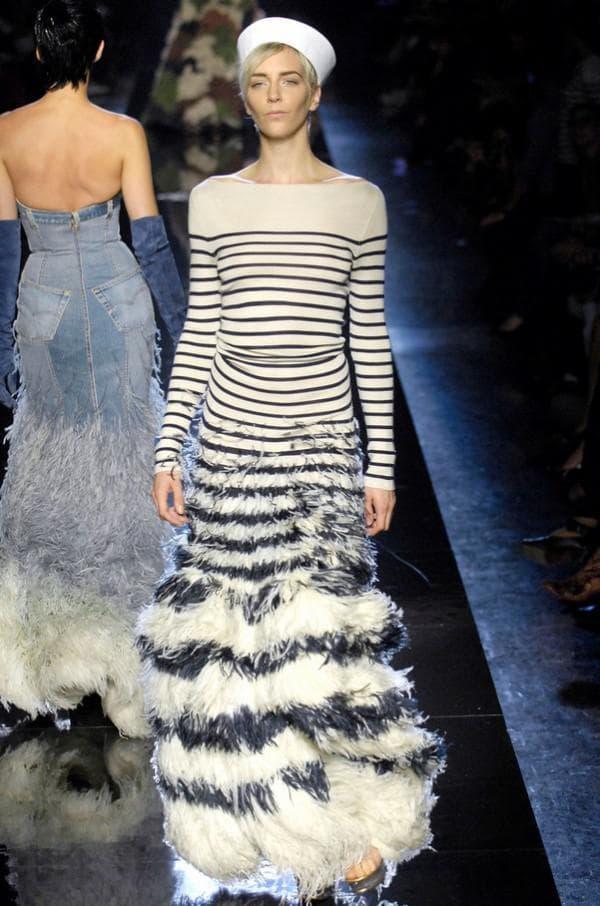 Полосатое платье в пол Готье