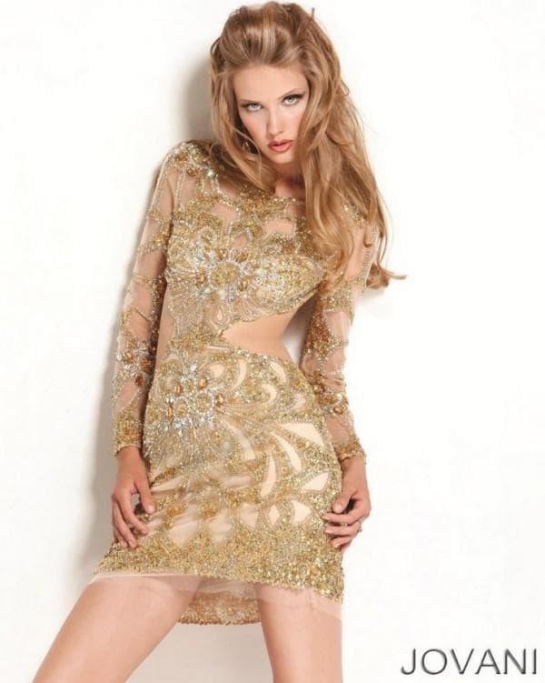 Дизайнерское золотое платье