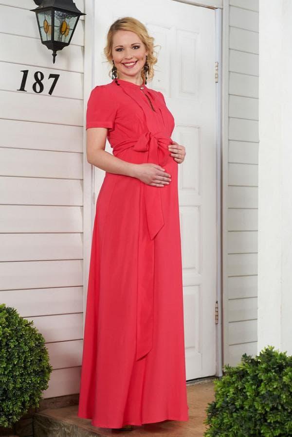 Красное длинное платье для беременной