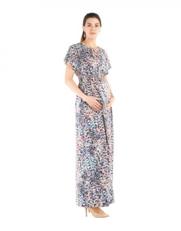 Длинное платье в цветочек для беременной