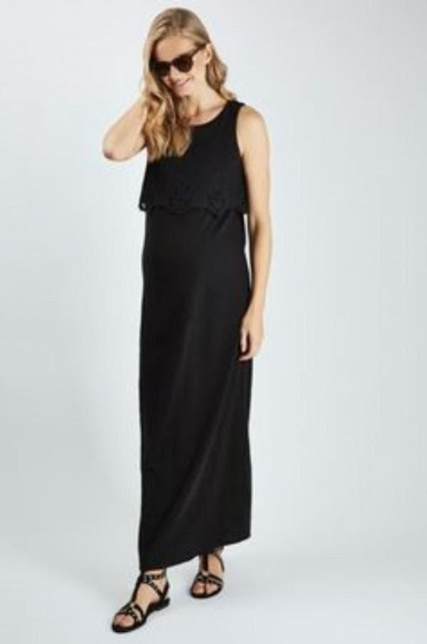 Длинное черное платье для беременной