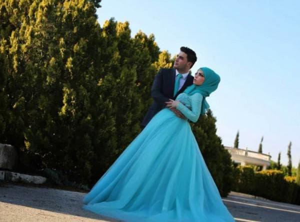 Голубое мусульманское свадебное платье