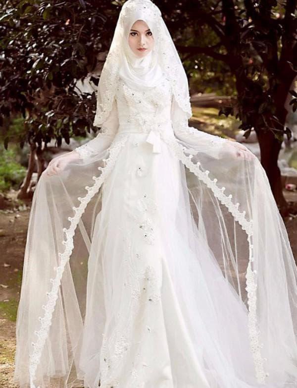 Кружевное свадебное платье для мусульманки