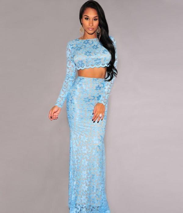 Раздельное вечернее платье голубого цвета