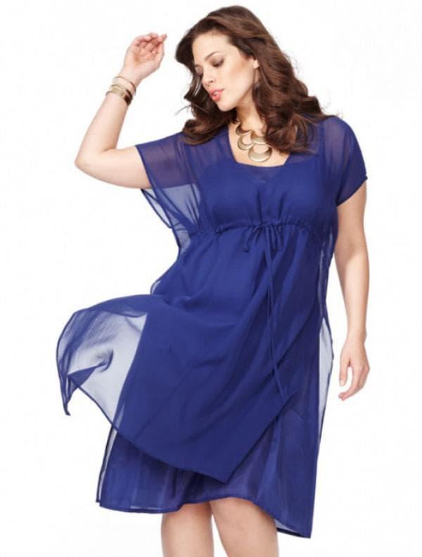 Синее шифоновое платье для полных
