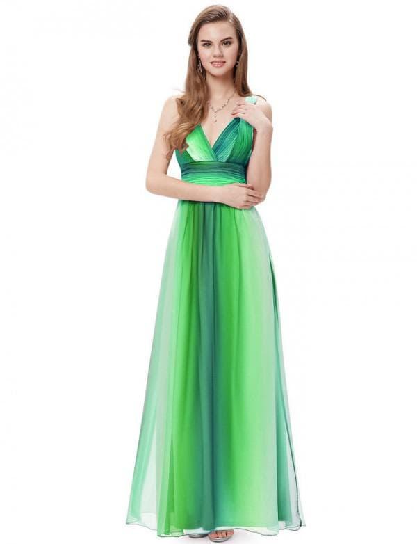 Градиентное платье зеленого цвета в пол