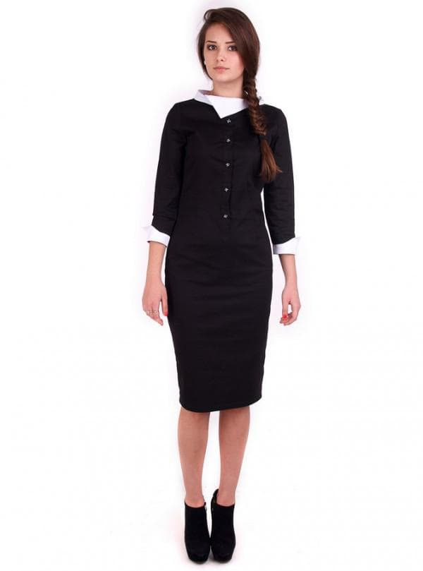 Платье рубашка черного цвета с белым воротником