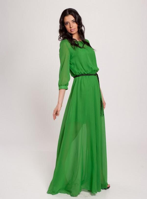 Зеленое платье в пол с рукавами