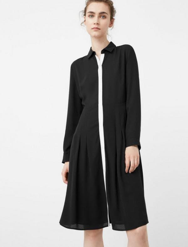 Платье рубашка черно белое