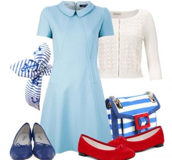 С чем носить голубое платье осенью