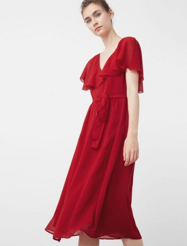 Красное платье миди на выход