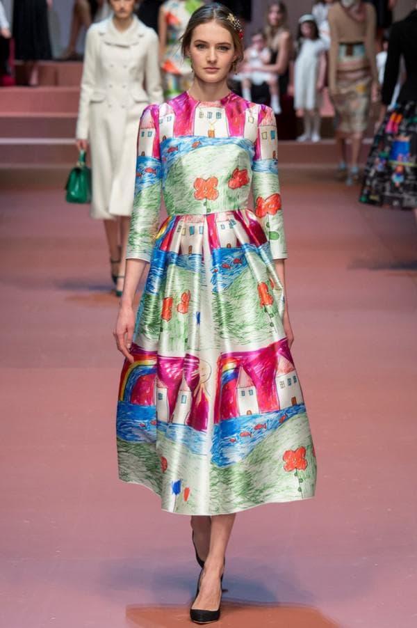 Платье миди длины с принтом