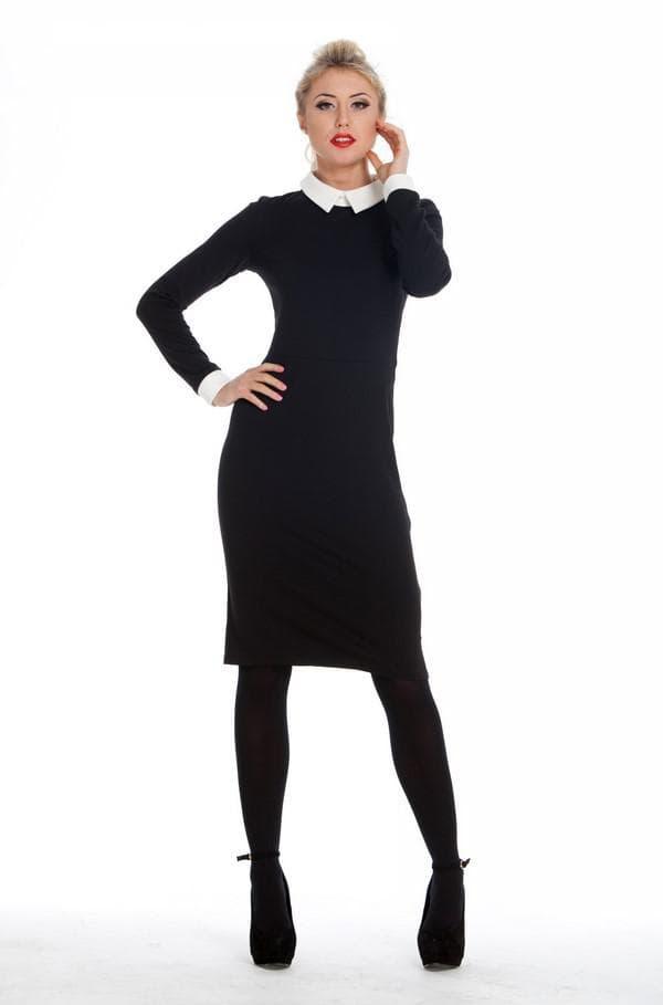 Строгое черное платье с белым воротничком и манжетами