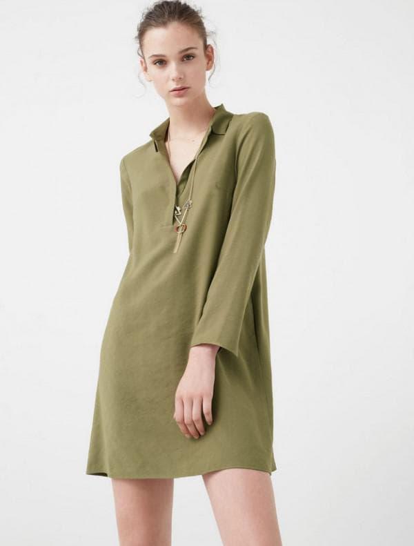 Легкое платье рубашка зеленого цвета
