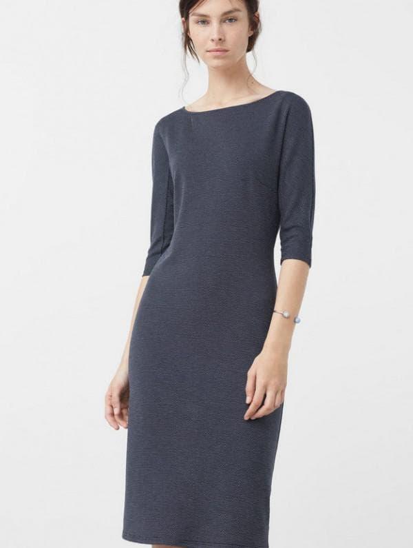Офисное платье синего цвета