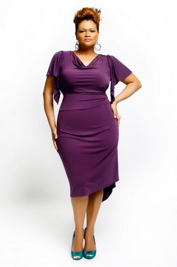 Фиолетовое платье миди большого размера