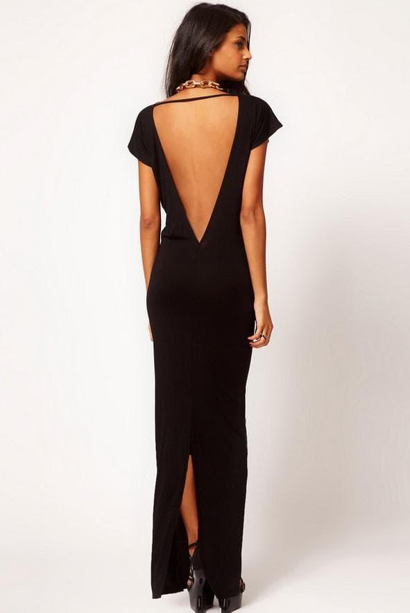 Вечернее длинное платье с вырезом на спине