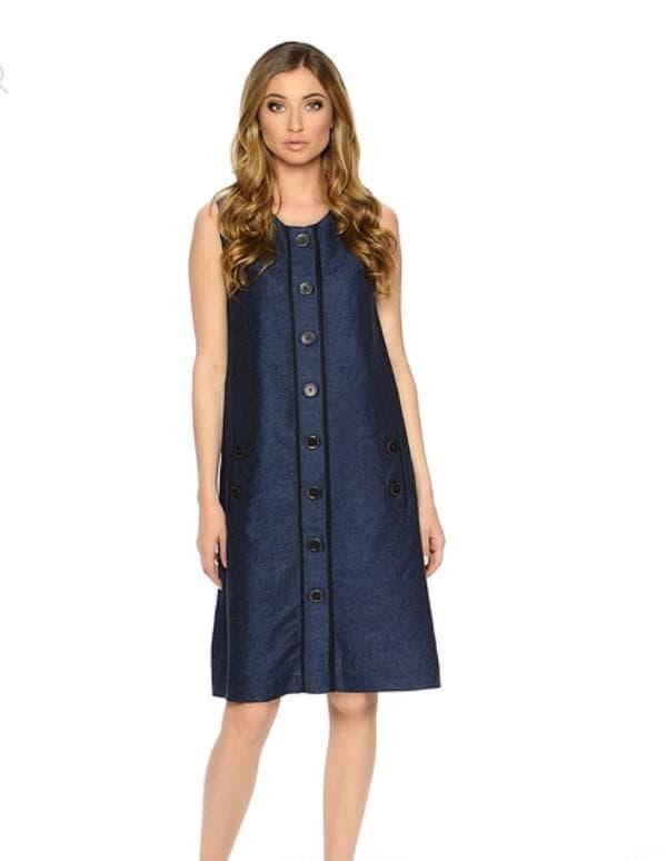 Джинсовое платье с пуговицами спереди