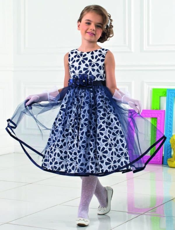 Сине-белое праздничное платье для девочки