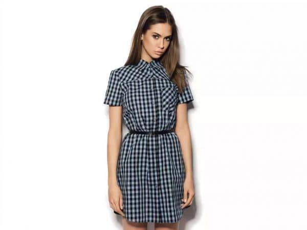 Платье-рубашка в чёрно-белую клетку