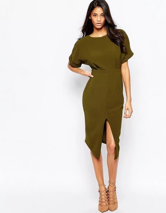 Образ с платьем цвета хаки от ASOS