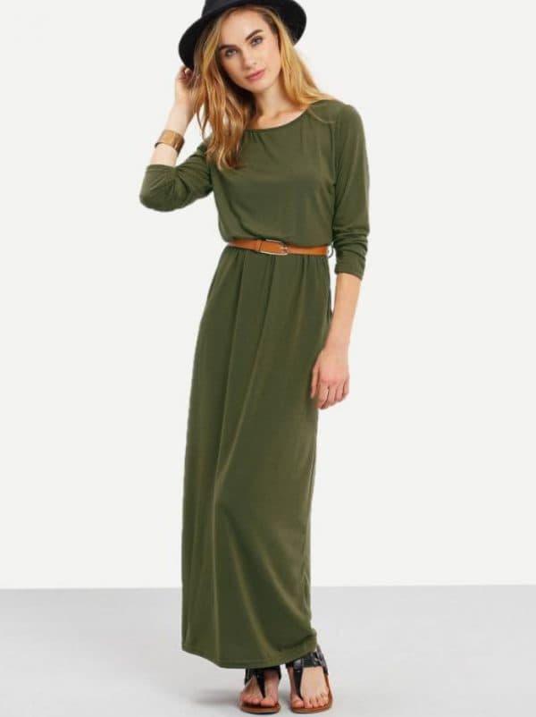 Длинное платье цвета хаки