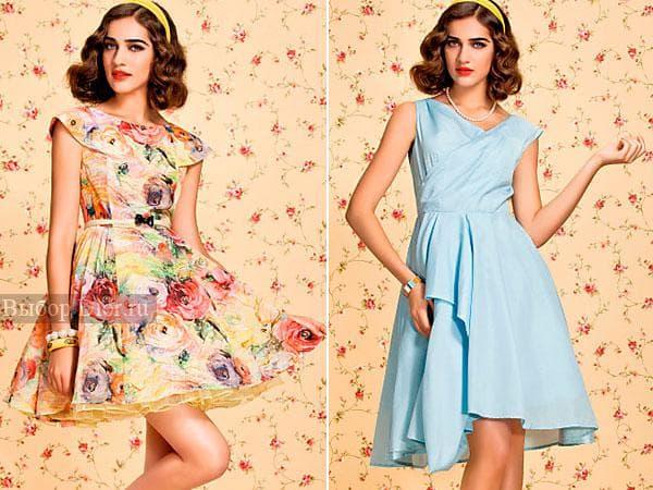 Голубое и цветастое платье с пышной юбкой