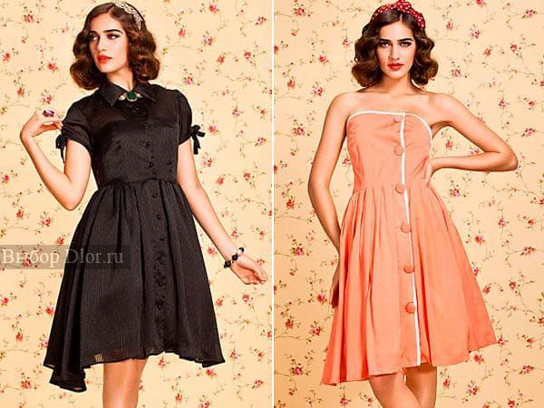 Черное платья для офиса и коралловый винтажный сарафан