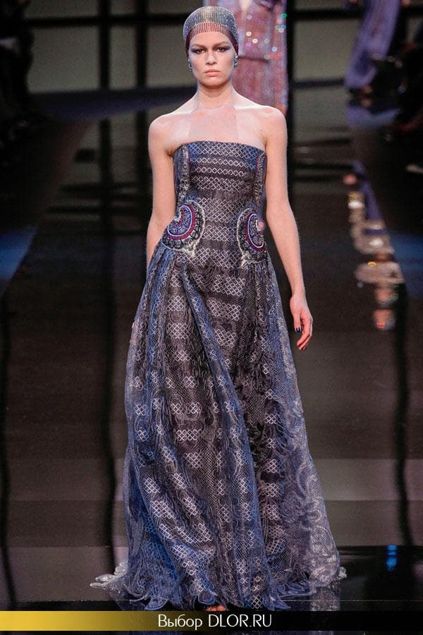 Синее нарядное платье без бретелей