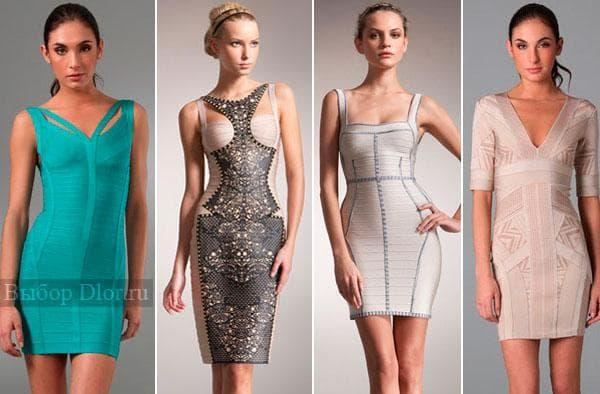 Коктейльные бандажные платья с кружевами светлых оттенков