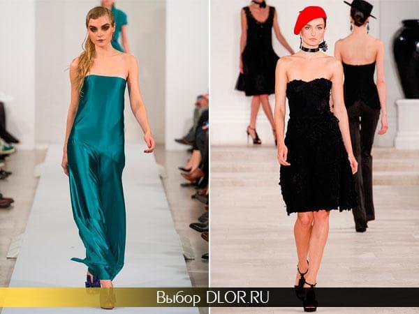 Бирюзовое платье бандо в пол и черное средней длины