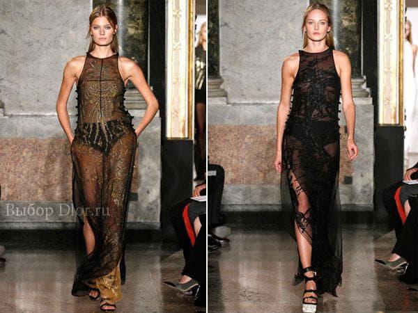 Длинные прозрачные платья с узорами