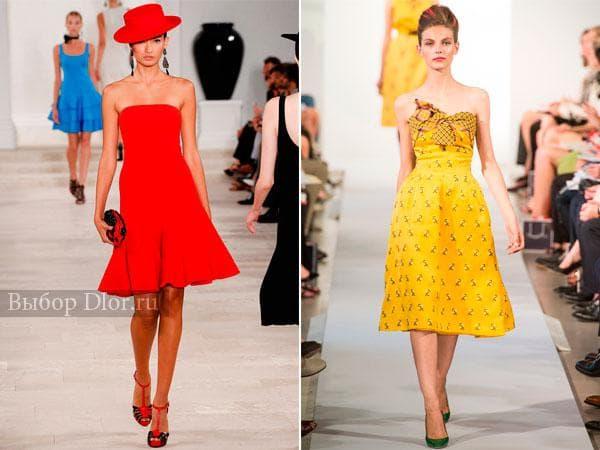 Платья без бретелей от Ralph Lauren и Oscar de la Renta