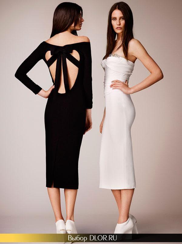 Облегающие платья черного и белого цвета