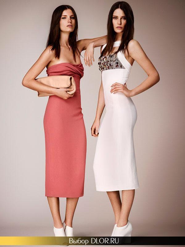 Платье-бюстье кораллового цвета и белое украшенное камнями
