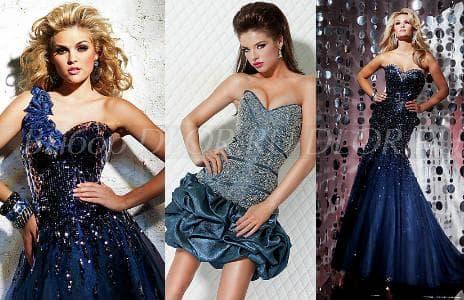 Синие вечерние платья - фото
