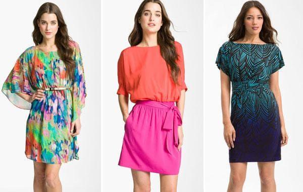 Платья с ярким принтом и двухцветные - розово-оранжевое и сине-бирюзовое