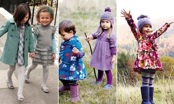 Зимние серые детские платья и осенние с яркими принтами