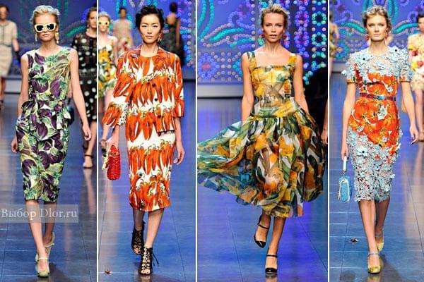 Фото платьев Dolce&Gabbana с овощными принтами