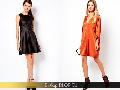 Короткое черное и оранжевое платье